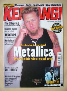 <!--1999-11-27-->Kerrang magazine - James Hetfield cover (27 November 1999