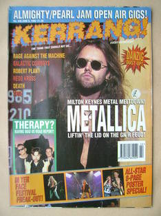 <!--1993-06-05-->Kerrang magazine - Lars Ulrich cover (5 June 1993 - Issue