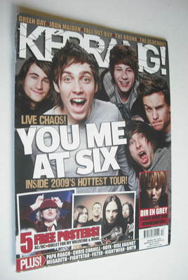 <!--2009-03-28-->Kerrang magazine - You Me At Six cover (28 March 2009 - Is