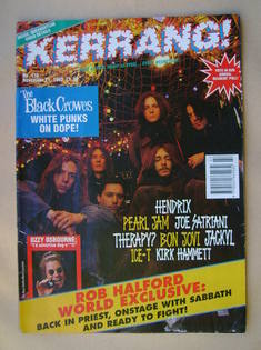 <!--1992-11-21-->Kerrang magazine - The Black Crowes cover (21 November 199