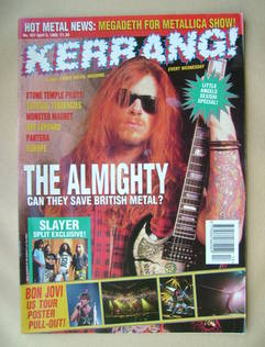 <!--1993-04-03-->Kerrang magazine - Ricky Warwick cover (3 April 1993 - Iss