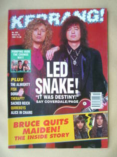 <!--1993-03-13-->Kerrang magazine - David Coverdale and Jimmy Page cover (1