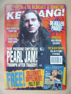 <!--1994-04-30-->Kerrang magazine - Eddie Vedder cover (30 April 1994 - Iss
