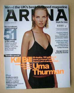 <!--2003-11-->Arena magazine - November 2003 - Uma Thurman cover