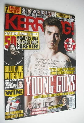 <!--2012-10-06-->Kerrang magazine - Young Guns cover (6 October 2012 - Issu