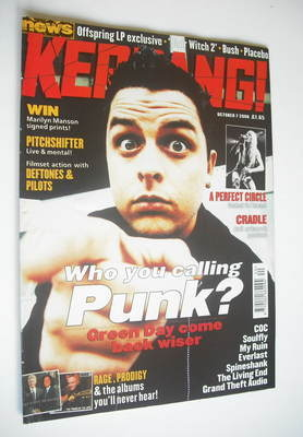 <!--2000-10-07-->Kerrang magazine - Green Day cover (7 October 2000 - Issue