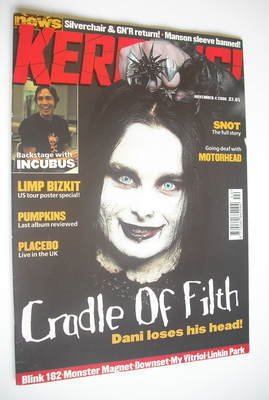 <!--2000-11-04-->Kerrang magazine - Cradle Of Filth cover (4 November 2000