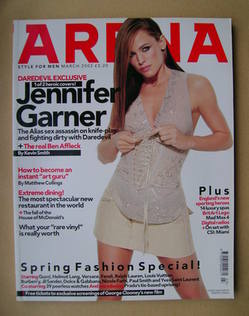 <!--2003-03-->Arena magazine - March 2003 - Jennifer Garner cover