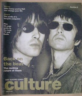 Culture magazine - Liam Gallagher and Noel Gallagher cover (23 June 2002)