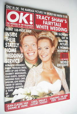 <!--2001-06-15-->OK! magazine - Tracy Shaw and Robert Ashworth cover (15 Ju