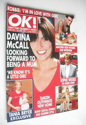 <!--2001-04-20-->OK! magazine - Davina McCall cover (20 April 2001 - Issue