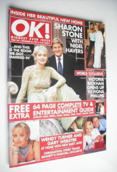 OK! magazine - Sharon Stone and Nigel Havers cover (26 November 1999 - Issue 189)