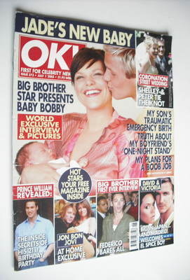 <!--2003-07-01-->OK! magazine - Jade Goody and Jeff Brazier and Bobby cover