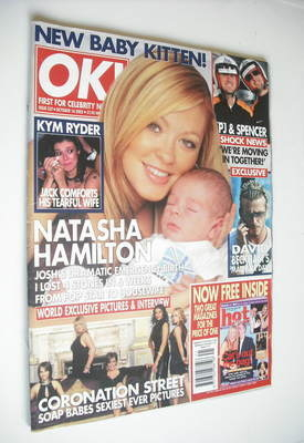 <!--2002-10-16-->OK! magazine - Natasha Hamilton and baby Josh cover (16 Oc