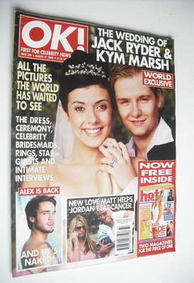 Ok Magazine Kym Marsh And Jack Ryder Wedding Cover 21 August 2002 Issue 329
