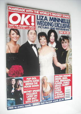 <!--2002-03-28-->OK! magazine - Liza Minnelli wedding cover (28 March 2002