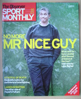 The Observer Sport Monthly magazine - Gary Lineker cover (April 2001)