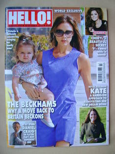 <!--2012-10-29-->Hello! magazine - Victoria Beckham and Harper Beckham cove