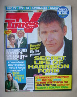 <!--1994-03-19-->TV Times magazine - Harrison Ford cover (19-25 March 1994)
