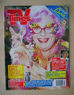 <!--1989-11-18-->TV Times magazine - Dame Edna Everage cover (18-24 Novembe