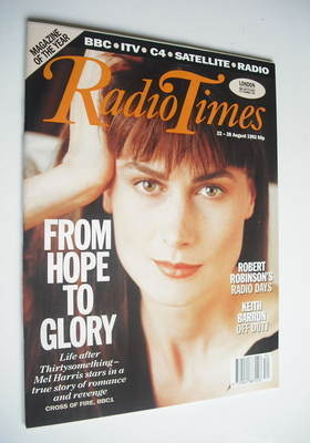 <!--1992-08-22-->Radio Times magazine - Mel Harris cover (22-28 August 1992