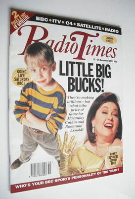 <!--1992-12-12-->Radio Times magazine - Macaulay Culkin and Roseanne Arnold