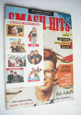 <!--1988-09-21-->Smash Hits magazine - Rick Astley cover (21 September-4 Oc