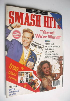 <!--1989-11-01-->Smash Hits magazine - Kylie Minogue and Jason Donovan cove