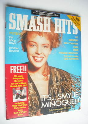 <!--1988-10-19-->Smash Hits magazine - Kylie Minogue cover (19 October-1 No