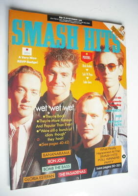 <!--1988-11-16-->Smash Hits magazine - Wet Wet Wet cover (16-29 November 19