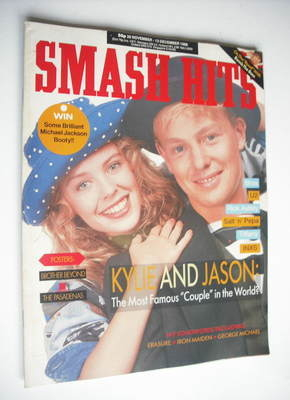 <!--1988-11-30-->Smash Hits magazine - Kylie Minogue and Jason Donovan cove
