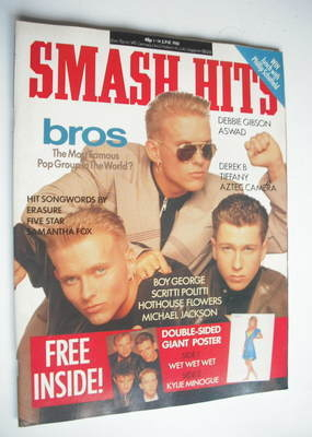 <!--1988-06-01-->Smash Hits magazine - Bros cover (1-14 June 1988)