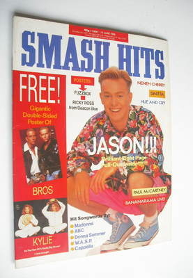 <!--1989-05-31-->Smash Hits magazine - Jason Donovan cover (31 May-13 June