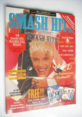 <!--1988-11-02-->Smash Hits - Yazz cover (2-15 November 1988)
