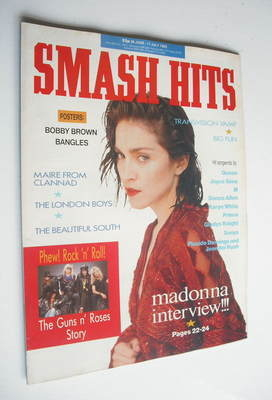 <!--1989-06-28-->Smash Hits magazine - Madonna cover (28 June - 11 July 198