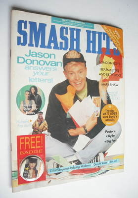<!--1989-09-06-->Smash Hits magazine - Jason Donovan cover (6-19 September