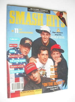 <!--1989-11-29-->Smash Hits magazine - New Kids On The Block cover (29 Nove