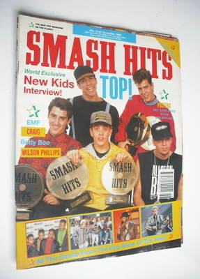 <!--1990-11-14-->Smash Hits magazine - New Kids On The Block cover (14-27 N