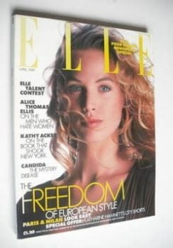 British Elle magazine - April 1989 - Joanna Rhodes cover
