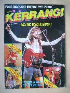 <!--1986-01-09-->Kerrang magazine - Angus Young cover (9-22 January 1986 -