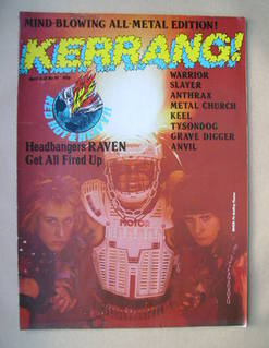 <!--1985-04-04-->Kerrang magazine - Raven cover (4-17 April 1985 - Issue 91