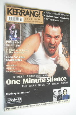 <!--2000-12-16-->Kerrang magazine - Brian Barry cover (16 December 2000 - I