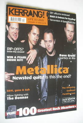 <!--2001-01-27-->Kerrang magazine - Metallica cover (27 January 2001 - Issu