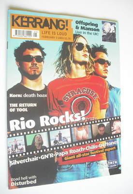 <!--2001-02-03-->Kerrang magazine - Rio Rocks cover (3 February 2001 - Issu