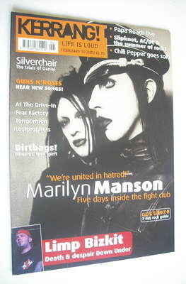 <!--2001-02-10-->Kerrang magazine - Marilyn Manson cover (10 February 2001