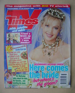 <!--1995-08-19-->TV Times magazine - Kimberley Davies cover (19-25 August 1