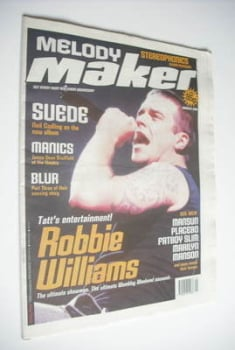 <!--1999-03-06-->Melody Maker magazine - Robbie Williams cover (6 March 1999)