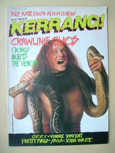 <!--1985-09-19-->Kerrang magazine - Cronos cover (19 September-2 October 19