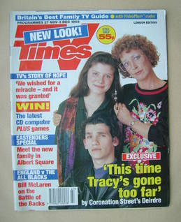 <!--1993-11-27-->TV Times magazine - Anne Kirkbride, Dawn Acton and Kieran