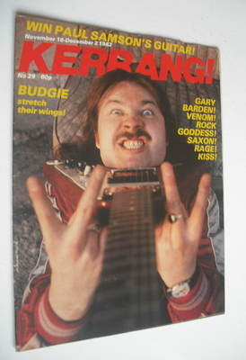 <!--1982-11-18-->Kerrang magazine - John Thomas cover (18 November - 2 Dece
